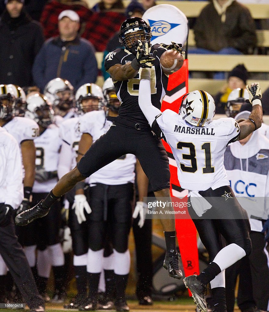Javon Marshall #31 of the Vanderbilt Commodores breaks up a pass intended for Terence Davis #81 of the Wake Forest Demon Deacons at BB&T Field on November 24, 2012 in Winston Salem, North Carolina. The Commodores defeated the Demon Deacons 55-21.