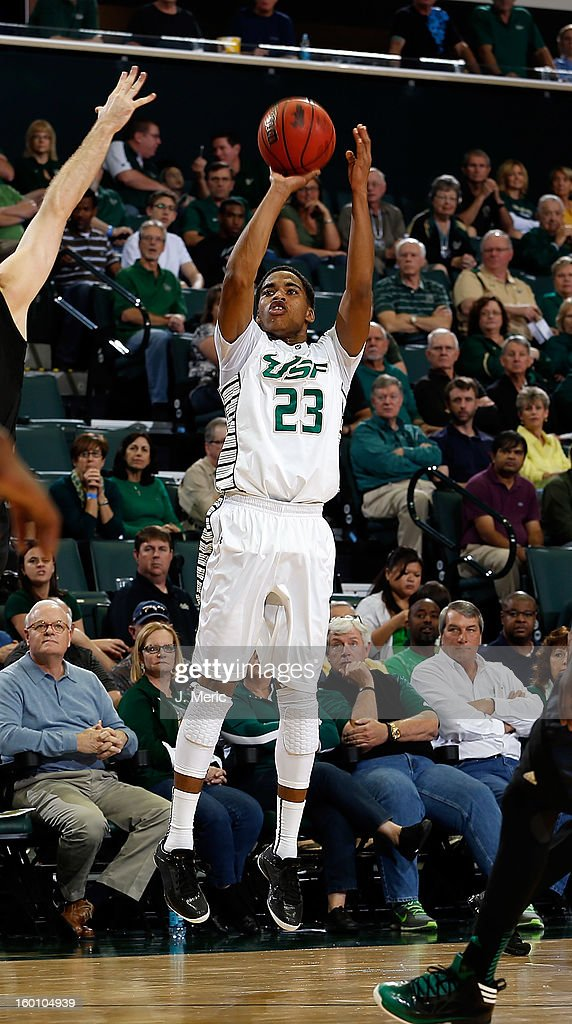 Javontae Hawkins #23 of the South Florida Bulls shoots against the Notre Dame Fighting Irish during the game at the Sun Dome on January 26, 2013 in Tampa, Florida.