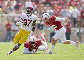 Javorius Allen of the USC Trojans in action against the Stanford Cardinal at Stanford Stadium on September 6 2014 in Palo Alto California