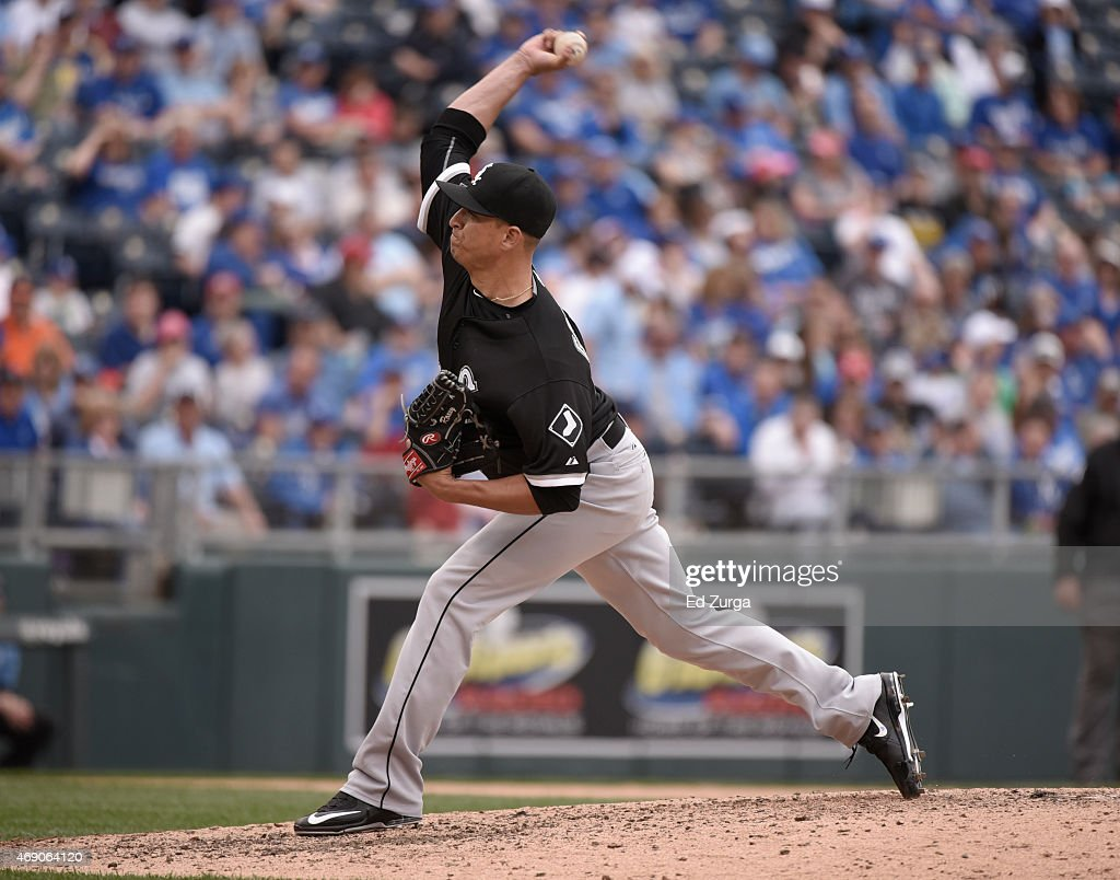 Javy Guerra #41 of the Chicago White Sox throws in the sixth inning during a game against the Kansas City Royals on April 9, 2015 at Kauffman Stadium in Kansas City, Missouri.