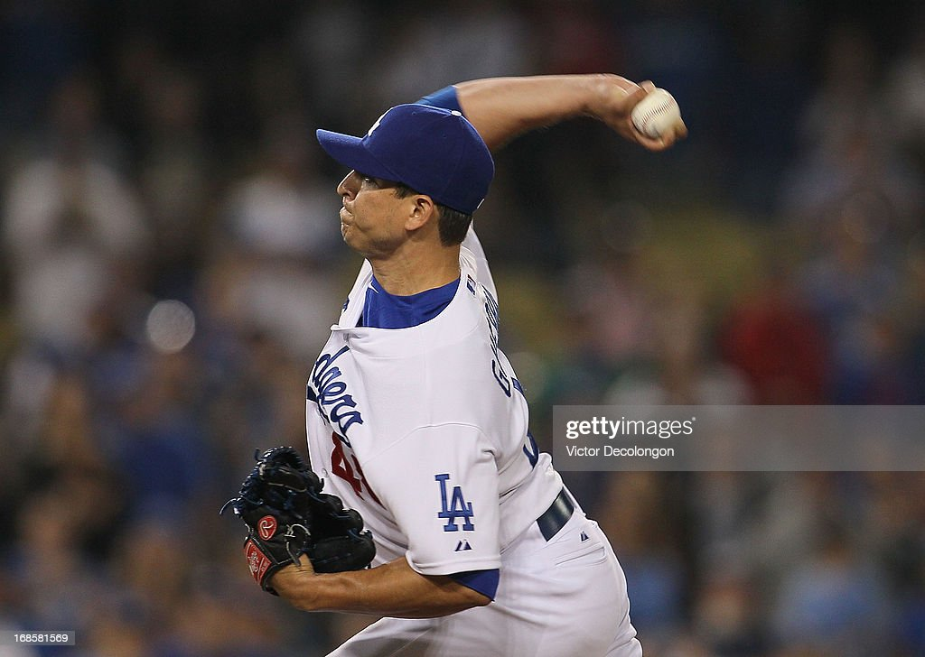 <a gi-track='captionPersonalityLinkClicked' href=/galleries/search?phrase=Javy+Guerra&family=editorial&specificpeople=6779283 ng-click='$event.stopPropagation()'>Javy Guerra</a> #48 of the Los Angeles Dodgers pitches in the ninth inning against the Miami Marlins during the MLB game at Dodger Stadium on May 11, 2013 in Los Angeles, California. The Dodgers defeated the Marlins 7-1.