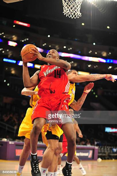 Jawad Williams of the Rio Grande Valley Vipers puts up a shot against Dwayne Mitchell of the Los Angeles DFenders at Staples Center on February 20...