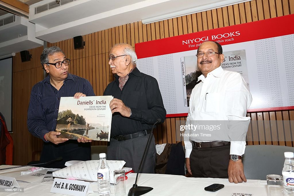 Jawahar Sircar Chief Executive Officer of Prasar Bharati, Art historian BN Goswamy and Bikash D Niyogi, Managing Director, Niyogi Books during book launch of Danielles' India View From The Eighteenth Century at IIC on May 13, 2013 in New Delhi, India.
