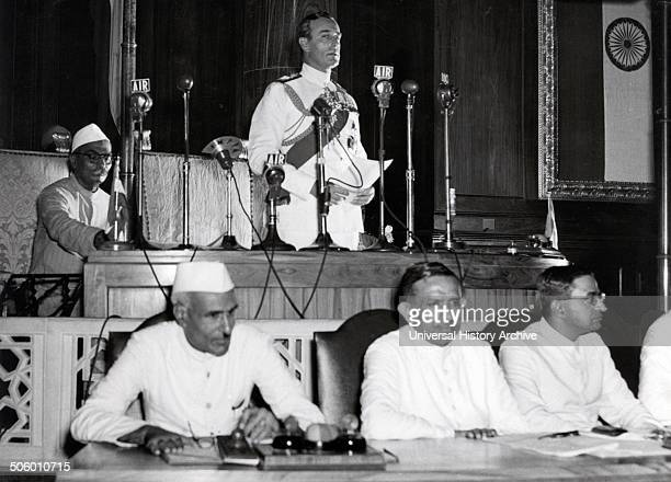 Jawaharlal Nehru and Lord Mountbatten Declare Indian Independence in Constituent Assembly Delhi 15 August 1947