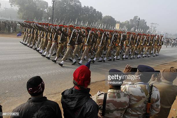 Jawans during the rehearsals for the Republic Day parade at Raj Path on January 18 2015 in New Delhi India Republic Day is celebrated every year on...