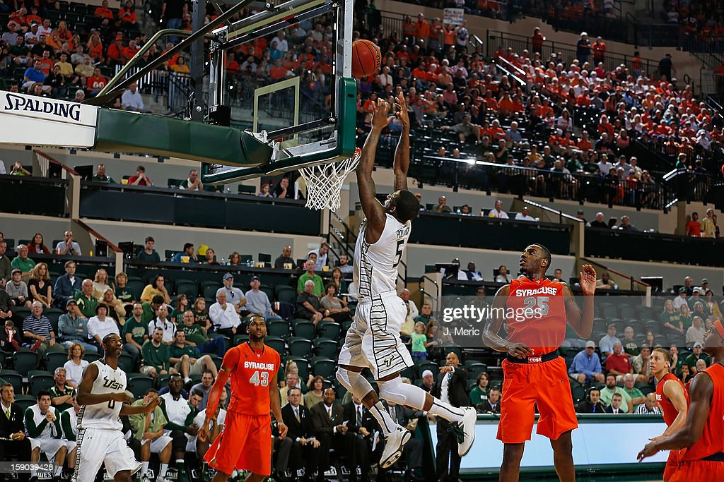 Jawanza Poland #5 of the South Florida Bulls dunks against the Syracuse Orange during the game at the Sun Dome on January 6, 2013 in Tampa, Florida.