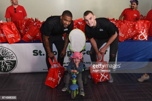 Jawun Evans and Sam Dekker of the LA Clippers help host their 29th Annual Teamwork at the Table Thanksgiving event at St Joseph Center on November 14...