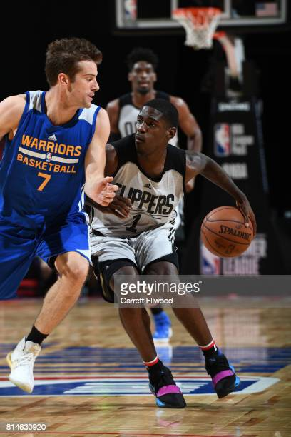 Jawun Evans of the LA Clippers handles the ball against the Golden State Warriors on July 14 2017 at the Thomas Mack Center in Las Vegas Nevada NOTE...
