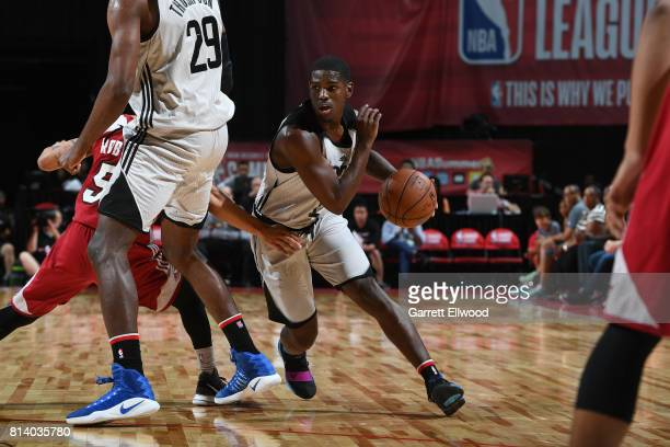 Jawun Evans of the LA Clippers handles the ball against the Miami Heat on July 13 2017 at the Thomas Mack Center in Las Vegas Nevada NOTE TO USER...