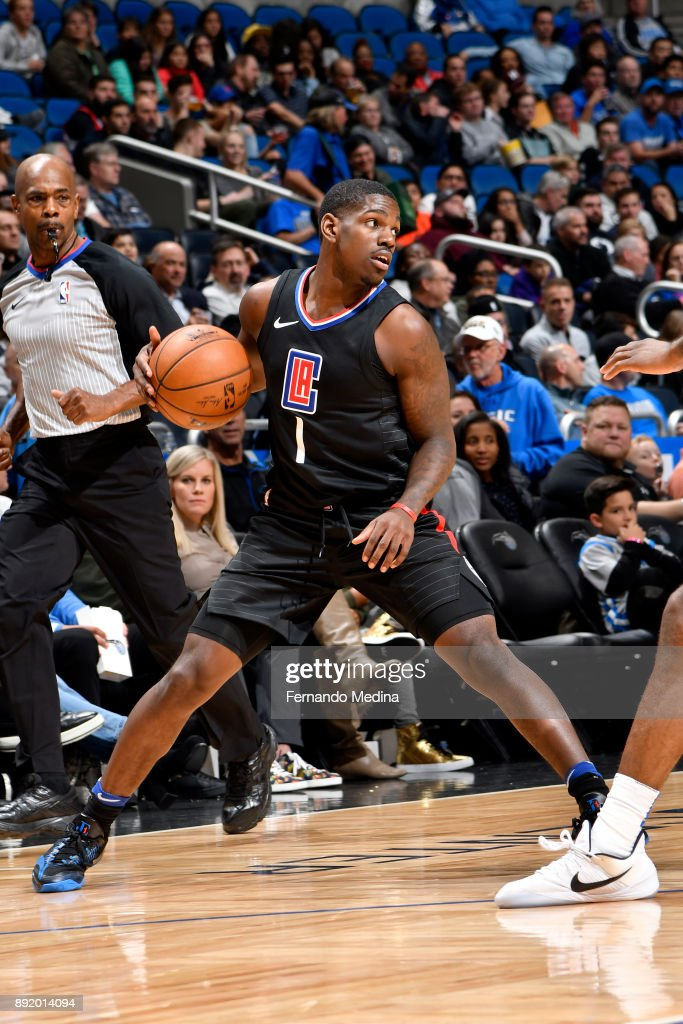 Jawun Evans #1 of the LA Clippers handles the ball against the Orlando Magic on December 13, 2017 at Amway Center in Orlando, Florida.