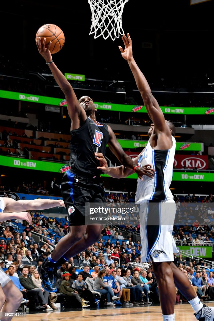 Jawun Evans #1 of the LA Clippers shoots a layup against the Orlando Magic on December 13, 2017 at Amway Center in Orlando, Florida.