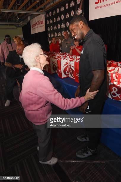 Jawun Evans of the LA Clippers help host their 29th Annual Teamwork at the Table Thanksgiving event at St Joseph Center on November 14 2017 in Venice...