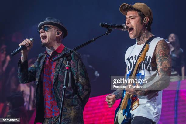 Ax and Fedez perform at Mediolanum Forum on April 10 2017 in Milan Italy