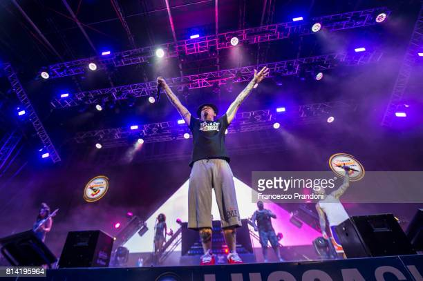 Ax and Fedez performs on stage during Lucca Summer Festival 2017 on July 13 2017 in Lucca Italy