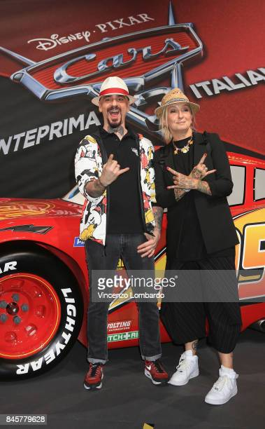 Ax and La Pina attend Cars 3 photocall in Milan on September 11 2017 in Milan Italy