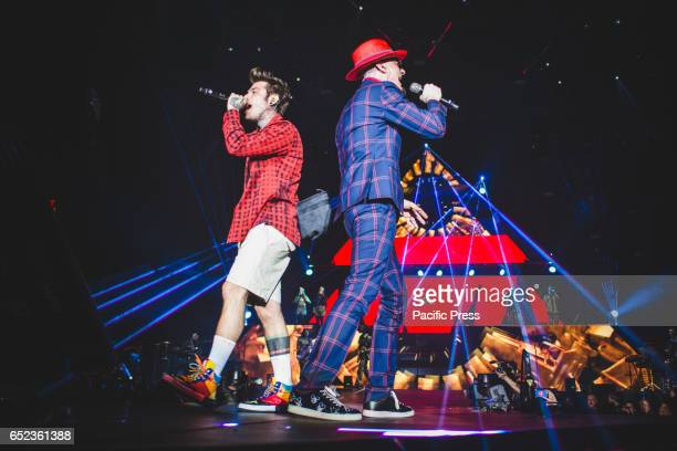 Ax Fedez performing live on stage at the Pala Alpitour in Torino for their first 'Comunisti Col Rolex' tour 2017 concert