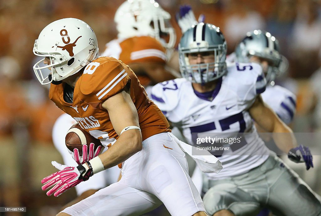 Jaxon Shipley #8 of the Texas Longhorns runs the ball against the Kansas State Wildcats at Darrell K Royal-Texas Memorial Stadium on September 21, 2013 in Austin, Texas.