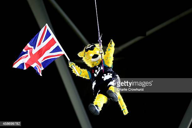 Jaxson de Ville the mascot of the Jacksonville Jaguars abseils into the stadium during the NFL week 10 match between the Jackson Jaguars and the...