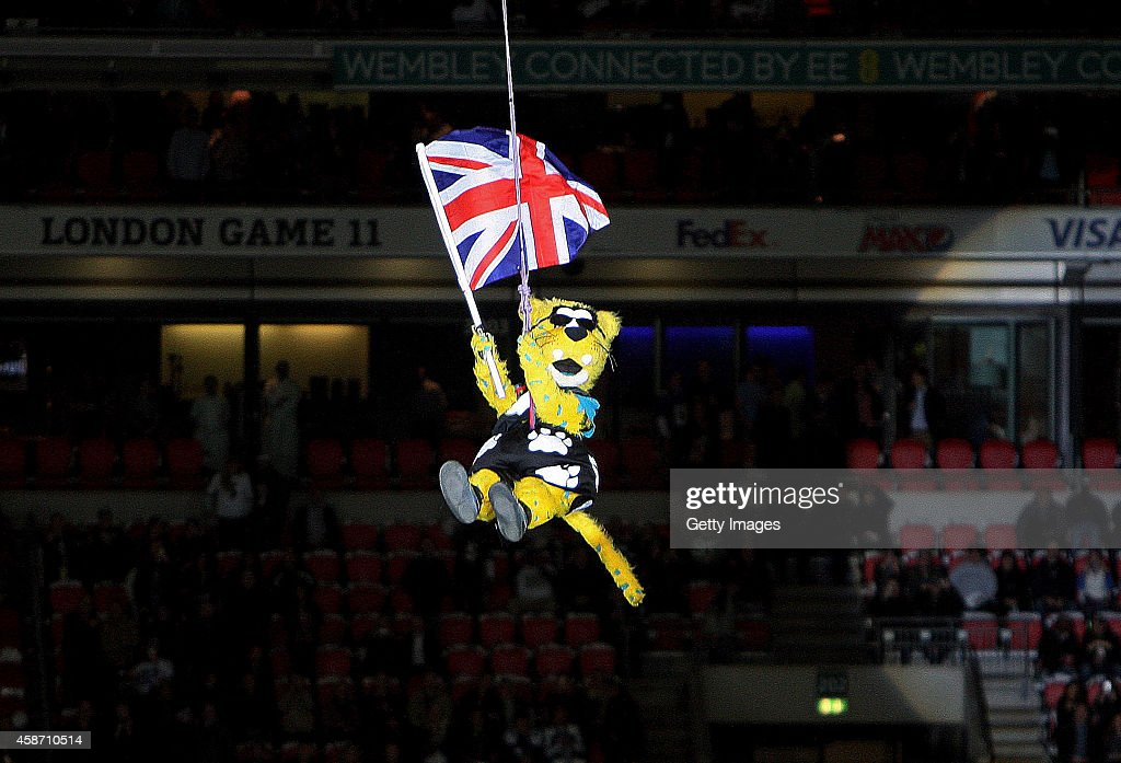 Jaxson de Ville the mascot of the Jacksonville Jaguars abseils into the stadium during the NFL week 10 match between the Jackson Jaguars and the Dallas Cowboys at Wembley Stadium on November 9, 2014 in London, England.