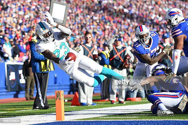 Jay Ajayi of the Miami Dolphins comes up short of a touchdown against the Buffalo Bills during the second half at Ralph Wilson Stadium on November 8...