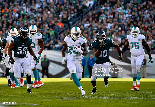 Jay Ajayi of the Miami Dolphins runs the ball against the Philadelphia Eagles in the second quarter at Lincoln Financial Field on November 15 2015 in...