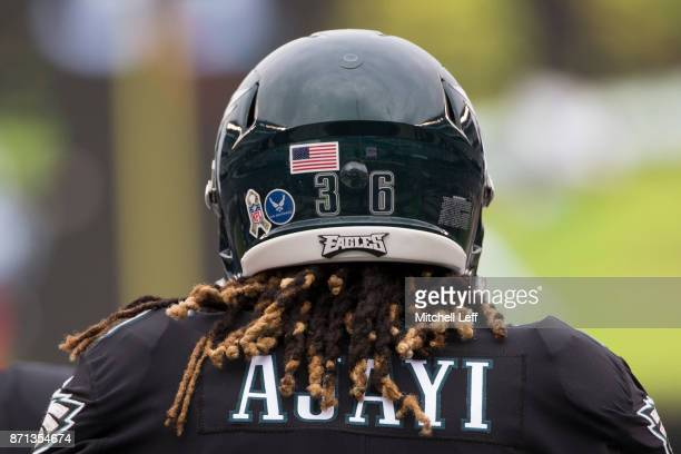 Jay Ajayi of the Philadelphia Eagles looks on prior to the game against the Denver Broncosat Lincoln Financial Field on November 5 2017 in...