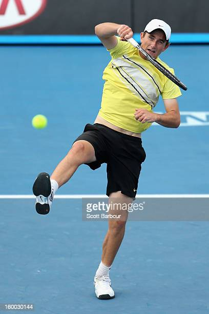 Jay Andrijic of Australia plays a forehand in his Junior Boys' Doubles Final match with Bradley Mousley of Australia against Maximilian Marterer of...