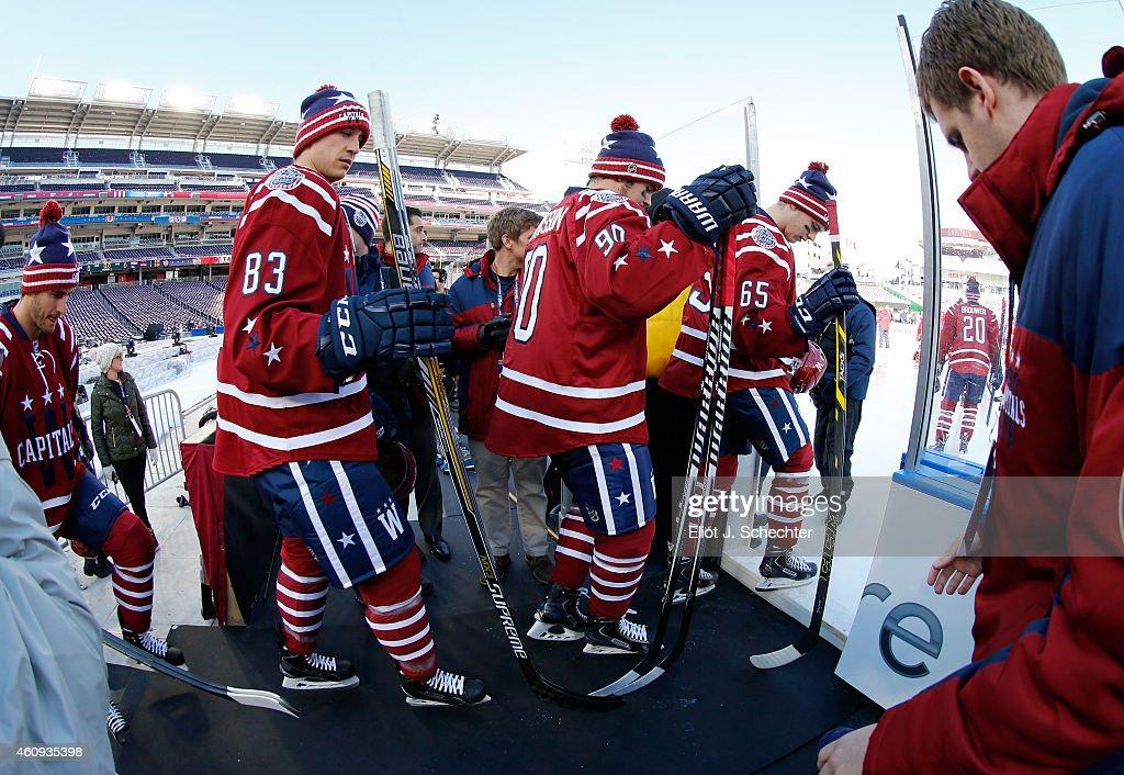 Jay Beagle Marcus Johansson Andre Burakovsky and their Washington Capitals teammates take the ice for practice day prior to the 2015 Bridgestone NHL...