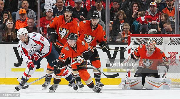 Jay Beagle of the Washington Capitals battles Sami Vatanen of the Anaheim Ducks for the puck on March 7 2016 at Honda Center in Anaheim California...