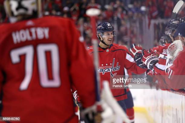 Jay Beagle of the Washington Capitals celebrates his goal with teammates against the New York Rangers during the first period at Capital One Arena on...
