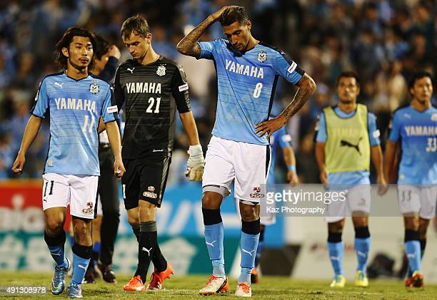Jay Bothroyd and Jubilo Iwata players react after their 22 draw in the JLeague match between Jubilo Iwata and Omiya Ardija at Yamaha Stadium on...
