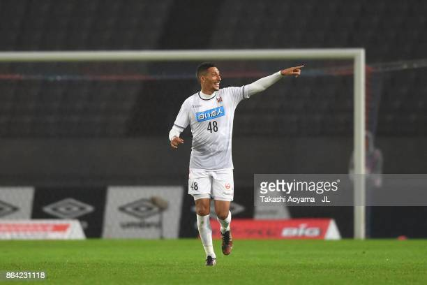 Jay Bothroyd of Consadole Sapporo celebrates scoring his side's second goal during the JLeague J1 match between FC Tokyo and Consadole Sapporo at...
