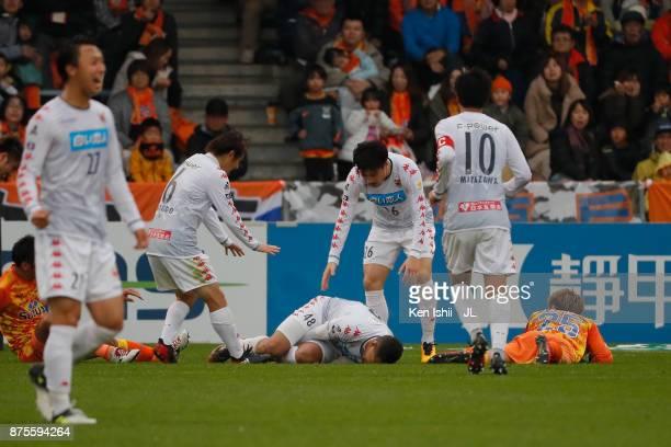 Jay Bothroyd of Consadole Sapporo celebrates scoring his side's second goal during the JLeague J1 match between Shimizu SPulse and Consadole Sapporo...