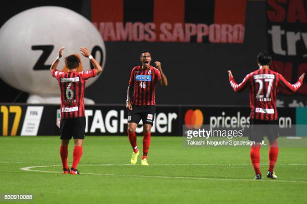 Jay Bothroyd of Consadole Sapporo celebrates scoring the opening goal during the JLeague J1 match between Consadole Sapporo and Ventforet Kofu at...