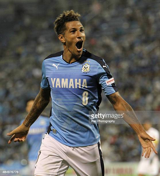 Jay Bothroyd of Jubilo Iwata celebrates scoring his team's first goal during the JLeague second division match between Jubilo Iwata and Tokushima...