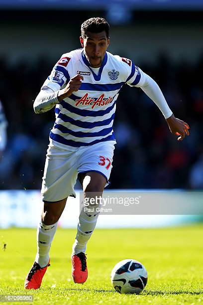 Jay Bothroyd of QPR runs with the ball during the Barclays Premier League match between Queens Park Rangers and Stoke City at Loftus Road on April 20...