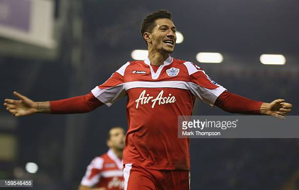 Jay Bothroyd of Queens Park Rangers celebrates his goal during the FA Cup third round replay between West Bromwich Albion and Queens Park Rangers at...