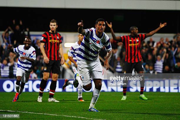 Jay Bothroyd of Queens Park Rangers celebrates scoring during the Barclays Premier League match between Queens Park Rangers and Manchester City at...