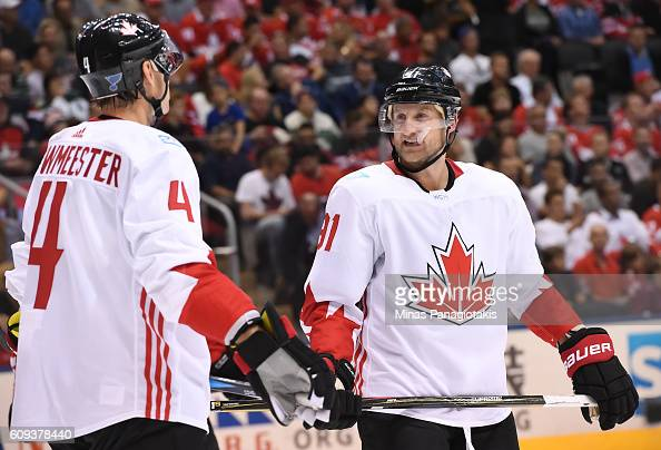 Jay Bouwmeester and Steven Stamkos of Team Canada talk between plays against Team USA during the World Cup of Hockey 2016 at Air Canada Centre on...