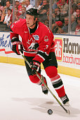 Jay Bouwmeester of Team Canada handles the puck against Team Russia during the World Cup of Hockey on September 4 2004 at the Air Canada Centre in...