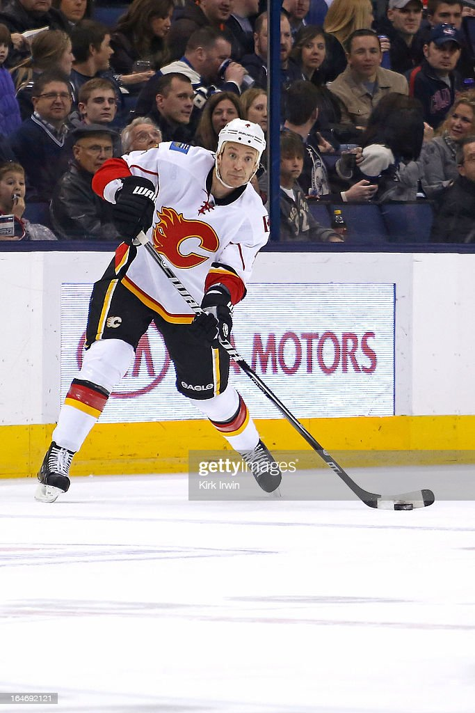 Jay Bouwmeester #4 of the Calgary Flames controls the puck during the game against the Columbus Blue Jackets on March 22, 2013 at Nationwide Arena in Columbus, Ohio.