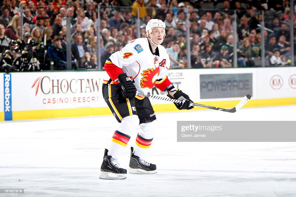 <a gi-track='captionPersonalityLinkClicked' href=/galleries/search?phrase=Jay+Bouwmeester&family=editorial&specificpeople=201875 ng-click='$event.stopPropagation()'>Jay Bouwmeester</a> #4 of the Calgary Flames skates against the Dallas Stars at the American Airlines Center on February 17, 2013 in Dallas, Texas.