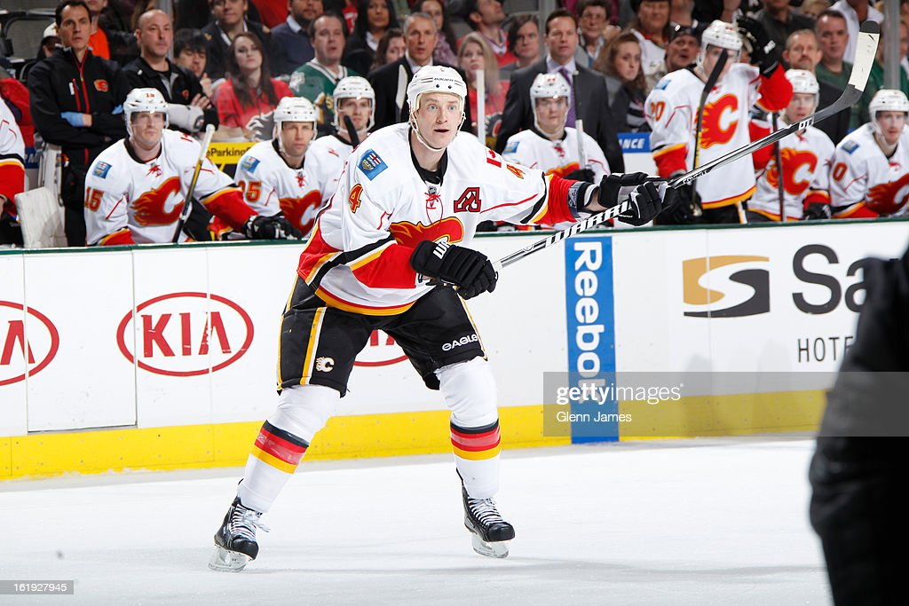 <a gi-track='captionPersonalityLinkClicked' href=/galleries/search?phrase=Jay+Bouwmeester&family=editorial&specificpeople=201875 ng-click='$event.stopPropagation()'>Jay Bouwmeester</a> #4 of the Calgary Flames winds up a shot against the Dallas Stars at the American Airlines Center on February 17, 2013 in Dallas, Texas.