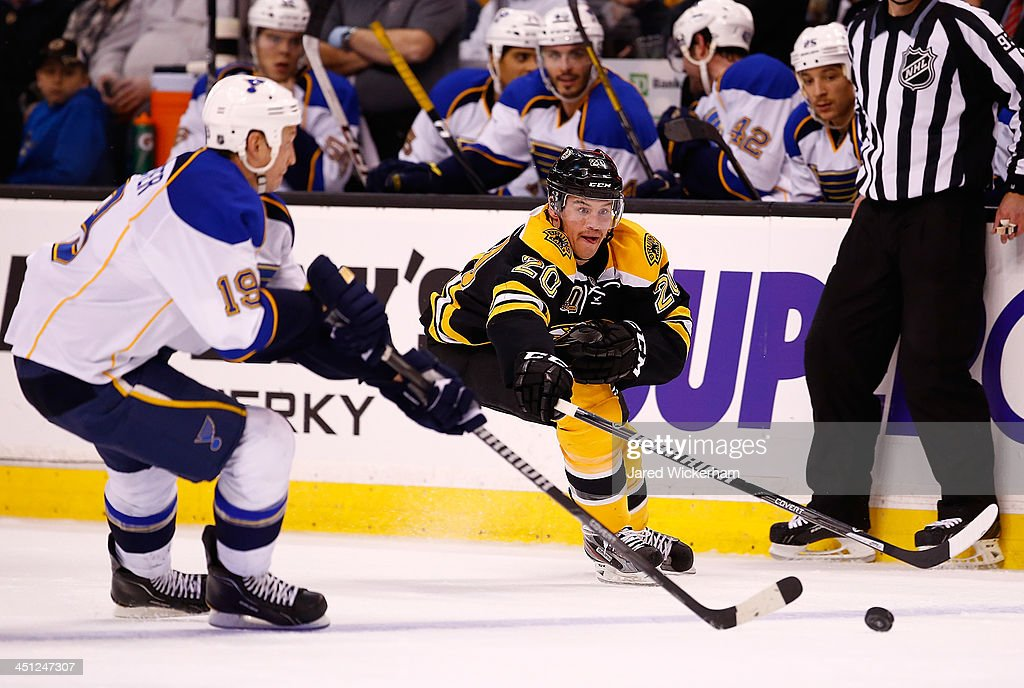 <a gi-track='captionPersonalityLinkClicked' href=/galleries/search?phrase=Jay+Bouwmeester&family=editorial&specificpeople=201875 ng-click='$event.stopPropagation()'>Jay Bouwmeester</a> #19 of the St Louis Blues and <a gi-track='captionPersonalityLinkClicked' href=/galleries/search?phrase=Daniel+Paille&family=editorial&specificpeople=706561 ng-click='$event.stopPropagation()'>Daniel Paille</a> #20 of the Boston Bruins reach for a puck in the third period at TD Garden on November 21, 2013 in Boston, Massachusetts.