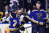 Jay Bouwmeester of the St Louis Blues celebrates after scoring a goal against the San Jose Sharks on January 8 2015 at Scottrade Center in St Louis...