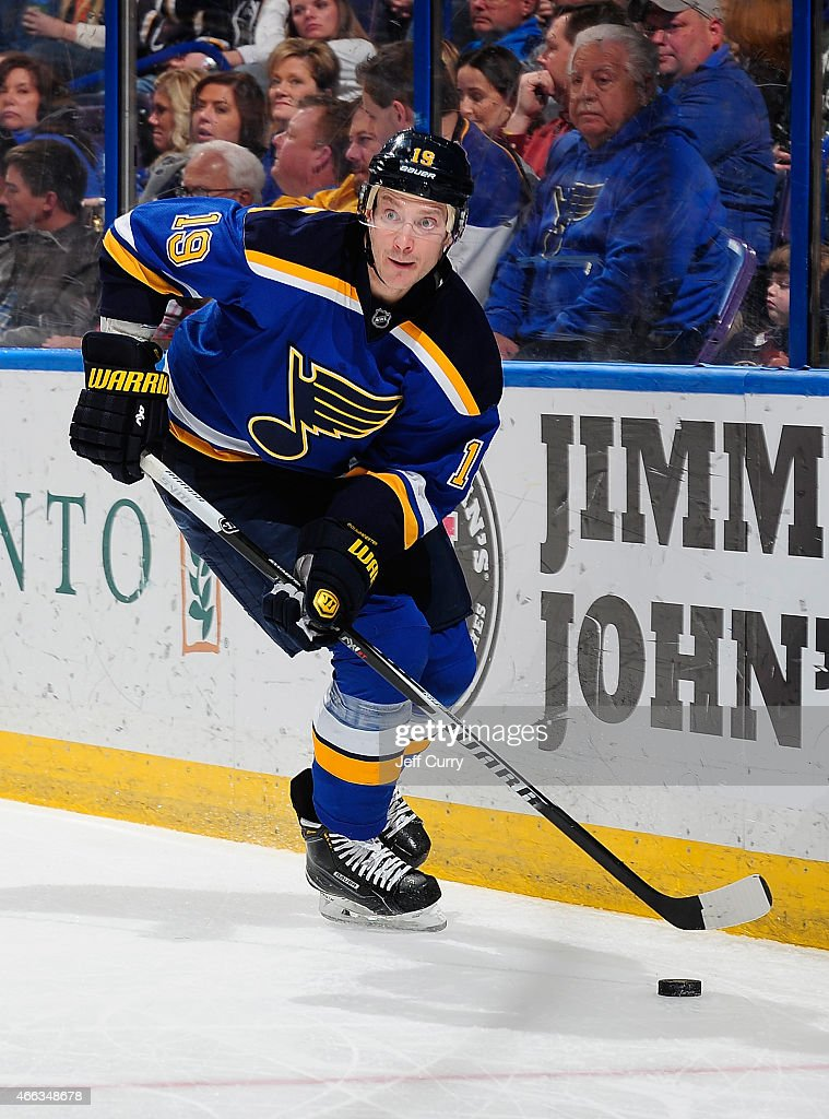 Jay Bouwmeester of the St Louis Blues handles the puck against the Minnesota Wild on March 14 2015 at Scottrade Center in St Louis Missouri