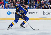 Jay Bouwmeester of the St Louis Blues handles the puck against the Columbus Blue Jackets on March 28 2015 at Scottrade Center in St Louis Missouri