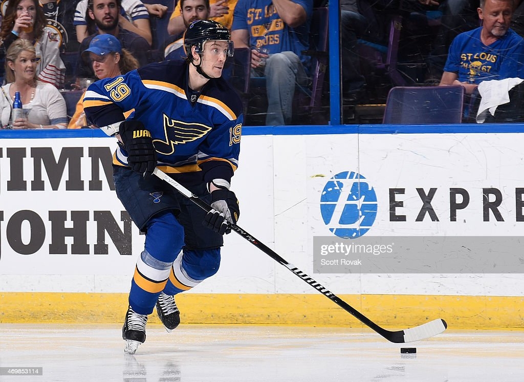 Jay Bouwmeester of the St Louis Blues handles the puck against the Chicago Blackhawks on April 9 2015 at the Scottrade Center in St Louis Missouri