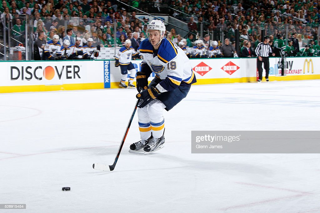 Jay Bouwmeester #19 of the St. Louis Blues handles the puck against the Dallas Stars in Game Two of the Western Conference Second Round during the 2016 NHL Stanley Cup Playoffs at the American Airlines Center on May 1, 2016 in Dallas, Texas.