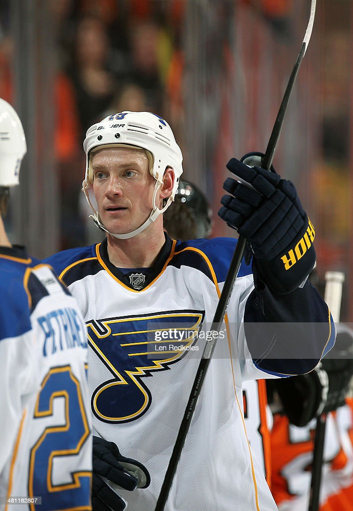 Jay Bouwmeester of the St Louis Blues looks on against the Philadelphia Flyers on March 22 2014 at the Wells Fargo Center in Philadelphia Pennsylvania